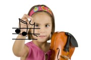 little_girl_writing_with_a_pen_and_holding_a_violin_isolated_on_white_background